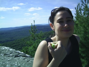 Eating apples (from the tree of knowledge?) at the summit.